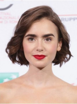 Lily Collins Short Wavy Bob Lace Front Wigs