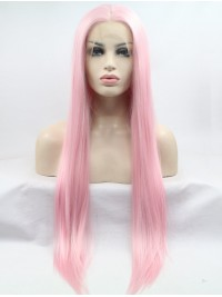Straight Pink Long Lace Front Synthetic Wigs