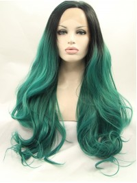 Long Ombre Lace Front Wavy Synthetic Wigs