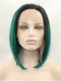 Chin Length Ombre Lace Front Straight Synthetic Wigs
