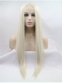 Long Grey Lace Front Straight Synthetic Wigs