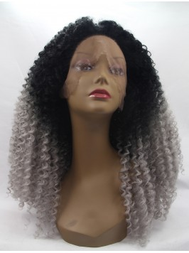 Long Ombre Lace Front Kinky Synthetic Wigs