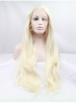Long Blonde Lace Front Wavy Synthetic Wigs