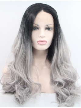"""Lace Front 28"""" Curly Ombre Synthetic Wigs"""