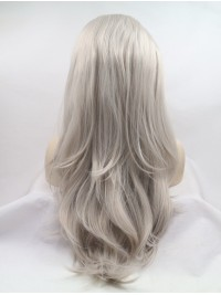 """Layered 20"""" Wavy Grey Lace Front Synthetic Wigs"""