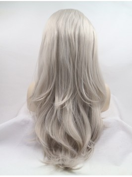"""Layered 20"""" Wavy Grey Lace Front Synthetic Wi..."""