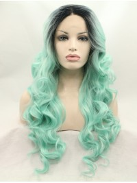 """Black 26"""" Curly Lace Front Synthetic Wigs"""