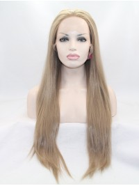 """28"""" Straight Brown Layered Lace Front Synthetic Wigs"""