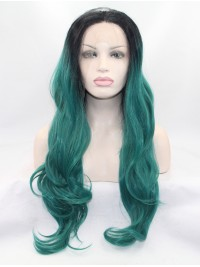 """28"""" Wavy White Layered Synthetic Lace Front Long Wigs"""