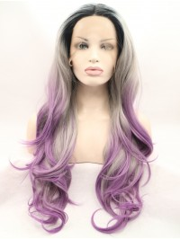 """28"""" Layered Black Curly Lace Front Synthetic Wigs"""