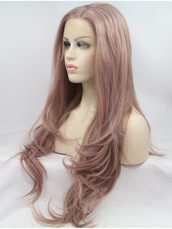 Black Layered Wavy Lace Front Synthetic Wigs