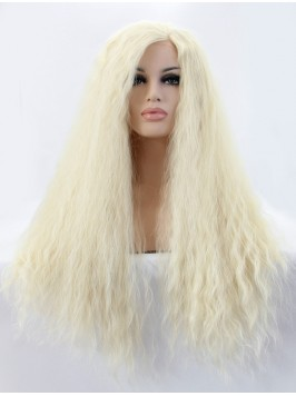 Long Blonde Curly Mit Dem Pony Lace Front Syntheti...