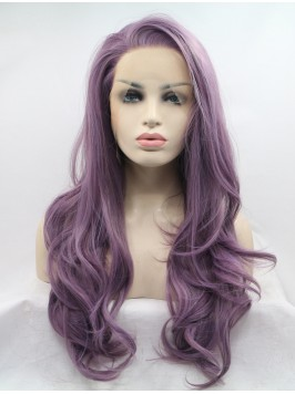 Long Grey Wavy Layered Lace Front Synthetic Wigs