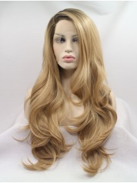 Long Blonde Layered Lace Front Wavy Synthetic Wigs