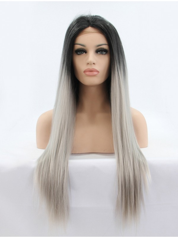 """24"""" Black  Lace Front Straight Synthetic Wigs"""