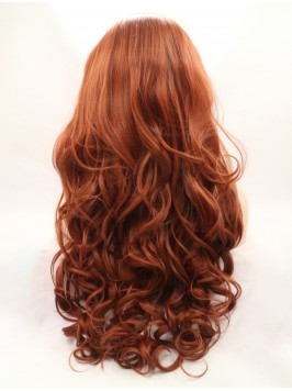 """Long Auburn 30"""" Lace Front Wavy Synthetic Wig..."""