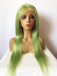 Long Smooth Grass Green Lace Front Human Hair Wigs