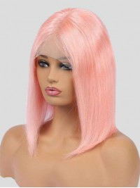 Medium Straight Pale Pink Bob Lace Front Human Hair Wigs