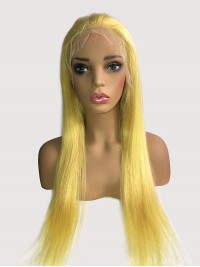 Long Smooth Yellow Lace Front Human Hair Wigs With Baby Hair