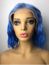 New Medium Blue Wavy Lace Front Hair Wigs
