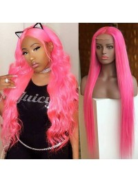 Long Wavy Pink Lace Front Human Hair Wigs With Medium Part