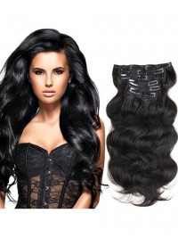 Full Head Clip In Hair Extensions Body Wave Human Hair Weft