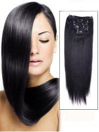 Straight 7 Pcs Clip In Hair Extensions Remy Human Hair