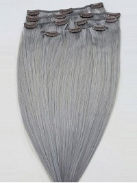7Pcs Clip In Sterling Silver Synthetic Hair Extensions
