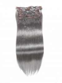 100g Grey Clip In Hair Extensions Cheap Virgin Hair Extensions 8Pcs/set