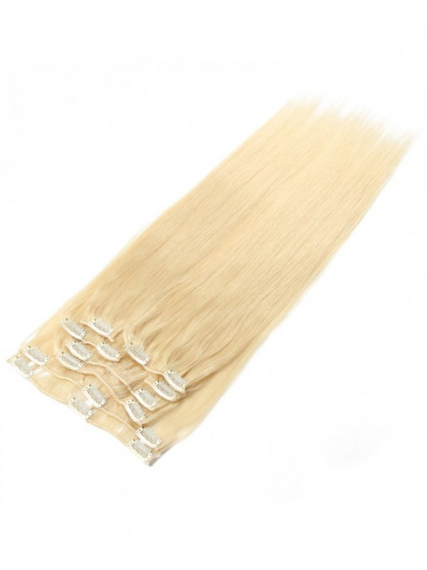 100g Lightest Blonde Clip In Hair Extensions Cheap Virgin Hair Extensions 8Pcs/set