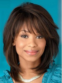 Layered Medium Straight Synthetic Capless Wig With Bangs 12 Inches