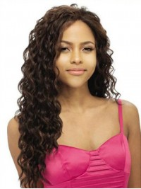 Central Parting Long Wavy Lace Front Human Hair Wig 22 Inches