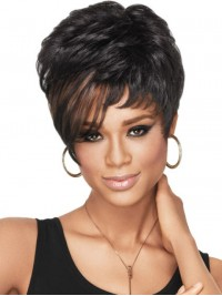 Short Straight Capless Synthetic Wig With Bangs 6 Inches