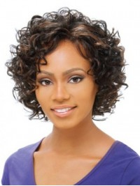 Afro-Hair Short Curly Full Lace Synthetic Wig With Side Bangs 6 Inches