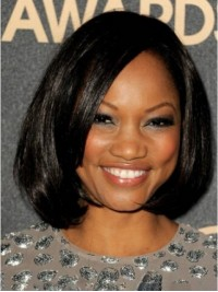 Straight Short Bob Style Lace Front Synthetic Wigs With Side Bangs 12 Inches
