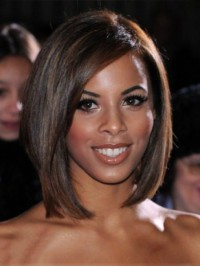 Short Straight Bob Style Lace Front Human Hair Wig With Side Bangs 12 Inches