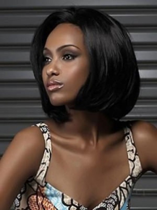 Bob Style Short Straight Synthetic Lace Front Wig With Side Bangs 12 Inches