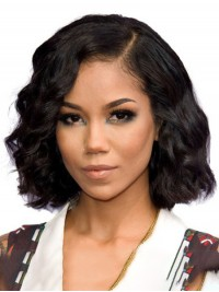 Medium Bob Style Wavy Capless Human Hair Wigs With Side Bangs 12 Inches