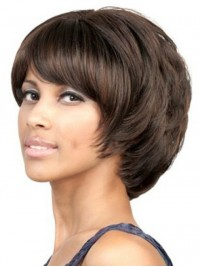 Layered Straight Short Capless Synthetic Wig With Bangs 6 Inches
