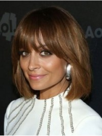 Bob Style Short Capless Straight Human Hair Wig With Bangs 10 Inches
