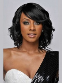Short Wavy Lace Front Synthetic Wig With Side Bangs 12 Inches