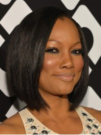 Garcelle Beauvais Black Short Straight Bob Style Lace Front Synthetic Wigs With Side Bangs 10 Inches
