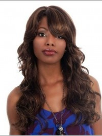 Long Wavy Synthetic Capless Wig With Side Bangs 24 Inches