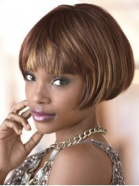 Short Straight Capless Synthetic Wigs With Bangs 6 Inches
