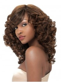 Long Wavy Afro-Hair Lace Front Synthetic Wigs With Side Bangs 16 Inches