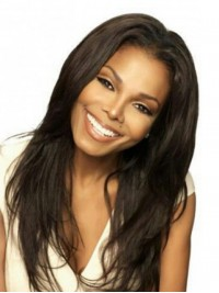 Janet Jackson Central Parting Long Straight Full Lace Human Hair Wigs 22 Inches