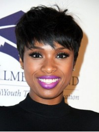 Jennifer Hudson Short Boy Cut Capless Synthetic Wig With Bangs 6 Inches