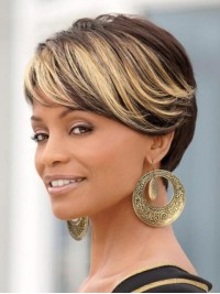 Ombre Short Straight Capless Synthetic Wig With Bangs 6 Inches