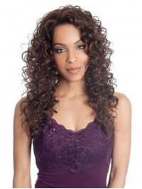 Afro-Hair Long Curly Lace Front Synthetic Wig With Side Bangs 20 Inches