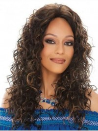 Ombre Long Curly Lace Front Human Hair Wig Without Bangs 20 Inches